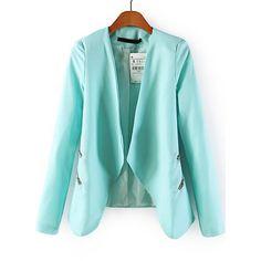 SheIn(sheinside) Blue Long Sleeve Zipper Crop Blazer ($22) ❤ liked on Polyvore featuring outerwear, jackets, blazers, blazer, sheinside, blue, blue blazer, zipper blazer, collarless jacket and long sleeve jacket