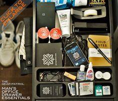 A Man's Office Drawer Essentials