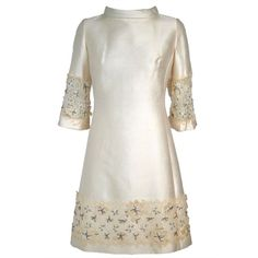 Vintage 1960s Ivory Silk Shantung Shift Dress w Beaded Lace ❤ liked on Polyvore featuring dresses, 60s dresses, vintage, beaded cocktail dresses, ivory lace cocktail dress, vintage white dress, lace cocktail dresses and shift dresses