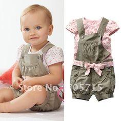 Retail Free shipping Hot Sale baby clothing set, baby shirt,baby set( t shirt + work pants + belt) US $15.89