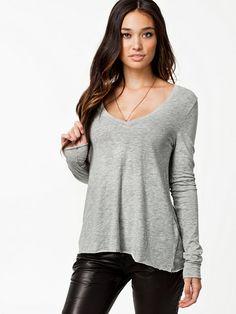 Long Sleeve Tee - American Vintage - Grey - Tops - Clothing - Women - Nelly.com Uk