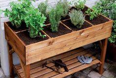 Vegetable Planter Boxes, Herb Garden Planter, Diy Planter Box, Herb Planters, Garden Boxes, Vegetable Garden, Balcony Herb Gardens, Balcony Gardening, Outdoor Balcony