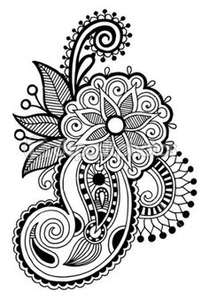 Vector Serigrafia black line art ornate flower design ukrainian ethnic style autotrace of hand dra… Zentangle Drawings, Mandala Drawing, Zentangle Patterns, Zentangles, Flower Embroidery Designs, Flower Designs, Henna Tattoo Designs, Mehndi Designs, Paisley Art