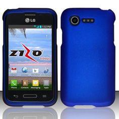 9dbc3dd7f93 LG Optimus Fuel L34C Blue Rubberized Plastic Cover Snap On Hard Armor Gel  Case Top Ten