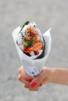 sushi cone - brilliant!...@Jennifer Milsaps L Mullen ... Kimbap EVERYDAY!!!!!!!!!!!