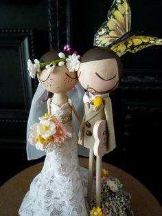 Wedding Cake Topper with Custom Wedding Dress and Butterfly Background - Custom Keepsake by MilkTea