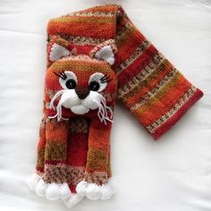 Knitted cat scarf,Knitted kids scarf,Animal scarf,Cat scarf,Knit scarf