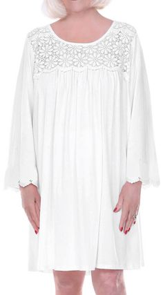 cc1e73281e Dignity Pajamas Home Care Line Womens Cotton Long sleeve open back nightgown -WHITE
