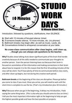 Studio Work Days- from Box Artist. Class Rules for AP Art High School Art, Middle School Art, Art Classroom Management, Classroom Rules, Class Management, Classroom Organization, Classroom Ideas, Art Room Rules, Art Handouts