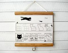 """Mini Canvas Vintage Pull Down Style Pull Down School Chart with Wood Trim - How to Draw a Cat (11"""" x 10"""")"""