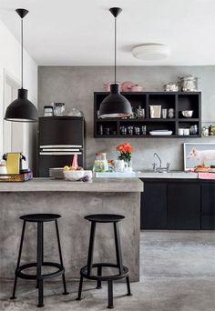 Industrial Interior Design Style Black Kitchens, Home Kitchens, Kitchen  Black, Kitchen Small,