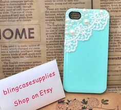White lace acrylic pearl  High-quality blue green cell phone cover for iphone 5 case for apple iphone cover 4s cover. $8.00, via Etsy.