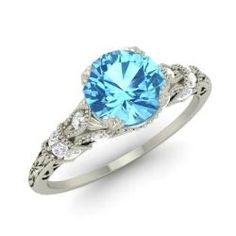 Blue Topaz and Diamond  Ring in 14k White Gold (0.95 ct.tw.) - Claudine
