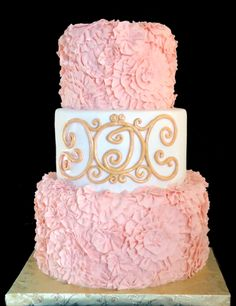 pink cakes | Pink Ruffle Cake with Gold Monogram