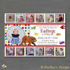 Printable photo birthday invitation brown bear brown bear what do eric carle brown bear brown bear birthday party by beebeesdezigns filmwisefo Choice Image
