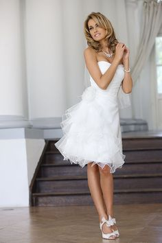 df20f64a7e On Sale White Organza Short Wedding Dress Prom Party Gown Bridesmaid Dresses