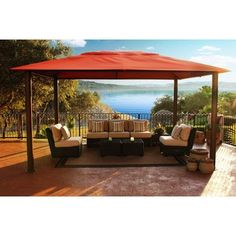 STC Santa Fe 11' X 15' Gazebo by STC. $2060.91. 11' x 15' pergola-style design and mocha finish make an attractive addition to any outdoor space Aluminum and steel framing creates a sturdy, corrosion-resistant outdoor structure Sunbrella fabric canopy in canvas rust won't fade in the sun Assembly and installation requires a Phillips screwdriver and pliers (not included) Warranty: 10 years base; 6 years cover