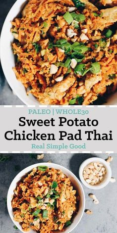 Our Paleo + Whole30 Sweet Potato Chicken Pad Thai has healthy sweet potato noodles, creamy cashew butter and coconut aminos. You'll love the cozy vibes. #paleo #whole30 #recipe | realsimplegood.com