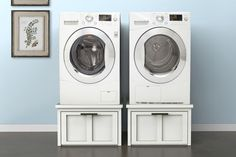 Increase storage in your laundry room without taking up floor space. These pedestals support your washer and dryer, and have big built-in drawers to store all of your laundry supplies. Get the FREE PLANS at buildsomething.com