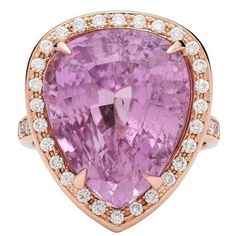 Preowned 1449 Carat Emerald Cut Morganite Diamond Rose Gold Ring