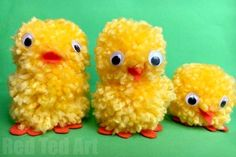 Easy Pom Pom Chicks for Easter