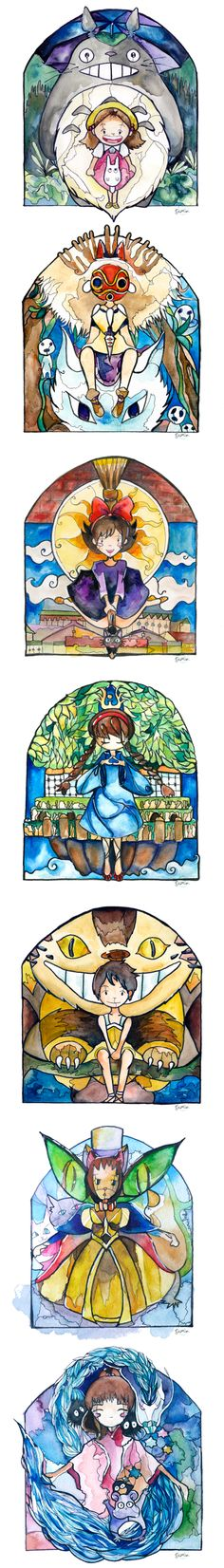 Studio Ghibli Characters Stained Glass Series by Susan Lin