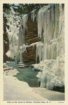 Glen of the Pools in Winter. Watkins Glen, N.Y.Postcard, United...