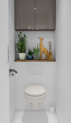 Install a separate toilet in the bathroom, by installing a simple partition. To optimize space, install a tall storage cabinet. Bathroom Accent Wall, White Bathroom Tiles, Small Bathroom, Wc Bathroom, Small Downstairs Toilet, Small Toilet Room, Toilet Room Decor, Toilette Design, Earthy Home Decor