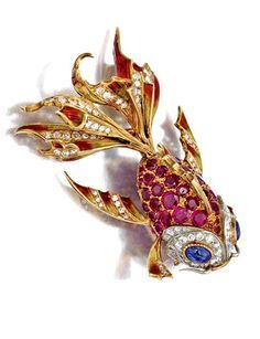 Gorgeous and Glamorous gemstone and enamel fish Brooch by E. Serafini