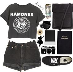 """ramones over here"" by claripadula ❤ liked on Polyvore"