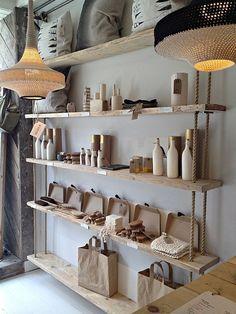 Hanging wood shelves, shelf, wood display, display design, retail display s Wood Display, Display Design, Display Shelves, Store Design, Display Ideas, Wine Shelves, Suspended Shelves, Hanging Wood Shelves, Store Interiors