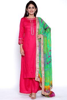 Magenta Gota Work Kurti with Flared Palazzo and Sea Green Tie & Dye Dupatta Indian Dresses, Indian Outfits, Flared Palazzo, Trouser Outfits, Green Tie, Indian Designer Wear, Retro Dress, Salwar Kameez, Churidar