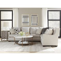Connor Curved Back Belgian Linen Sectional Sofa with Ultra Plush Down Blended Cushions | Overstock.com Shopping - The Best Deals on Sectional Sofas