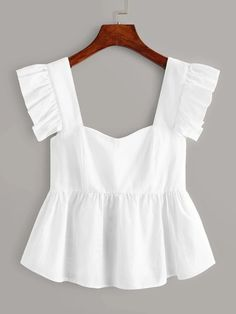 To find out about the Ruffle Trim Peplum Top at SHEIN, part of our latestWomen Tops ready to shop online New Arrivals Dropped Daily. Girl Outfits, Cute Outfits, Fashion Outfits, Cute White Tops, Frill Tops, Peplum Tops, Mode Top, Mode Vintage, Sewing Clothes