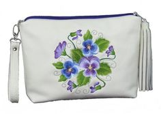 Pansies bouquet embroidery on luxuriously supple ivory genuine leather zipper clutch accommodates essentials with carefree convenience. Easily carried by remova