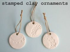Stamped Clay Ornaments These are so simple- roll out your sculpey, stamp with anything decorative you have and let dry. Noel Christmas, Diy Christmas Ornaments, Homemade Christmas, All Things Christmas, Holiday Crafts, Christmas Ideas, Clay Ornaments, Ornament Crafts, Handmade Ornaments