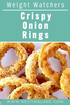 Weight Watchers Crispy Onion Rings Recipe. Crispy Baked Onion Rings with only 3 ingredients! Made with egg substitute and Fiber One cereal, this healthy side dish is low fat and tasty! MyWW Points: 2 Blue Plan and 4 Green Plan, 2 WW Freestyle Points and 4 Smart Points. Baked Onion Rings, Onion Rings Recipe, Healthy Side Dishes, Side Dish Recipes, New Recipes, Weight Watchers Vegetarian, Weight Watchers Diet, Crispy Onions, Low Calorie Recipes