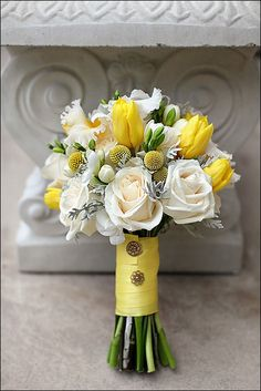 love the yellow....with spring green....notice the buttons on the ribbon....wedding flower bouquet, bridal bouquet, wedding flowers, add pic source on comment and we will update it. http://www.myfloweraffair.com can create this beautiful wedding flower look.
