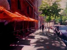 J Cafe Seattle City Scenes, urban landscape,oil painting, original painting by artist Robin Weiss | DailyPainters.com