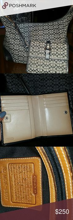 AUTHENTIC COACH PURSE AND WALLET ? Early 2000's Coach Purse and Wallet. Overall good condition. Purse has a small spot on the back, but Coach store says it can be removed. Looking for a good home where someone will use it and it won't sit in a closet! Offers welcome! Coach Bags