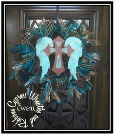 In Stock - $95 Hand painted Angel Cross Wreath #WR2101