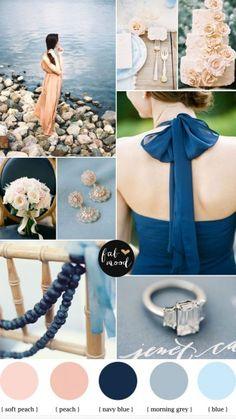 Blue Grey Navy Blue and Peach Wedding,navy blue peach wedding,blue and peach wedding colours,wedding palette,grey navy blue wedding,grey and peach wedding