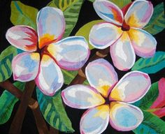 Plumeria quilt by Melina Bula. Flower Quilts, Contemporary Quilts, Applique Quilts, Fabric Art, Fiber Art, Quilt Patterns, Needlework, Artsy, Crafty