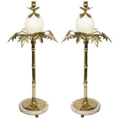 Ostrich Egg & Brass Candlesticks in the Manner of Anthony Redmile