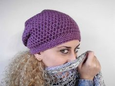 Hat beanie slouchy crochet violet purple chunky christmas gift women accessory gift teens autumn winter fall fashion modern unique