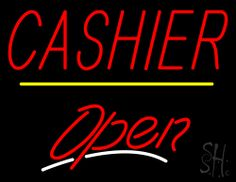 Cashier Open Yellow Line Neon Sign 24 Tall x 31 Wide x 3 Deep, is 100% Handcrafted with Real Glass Tube Neon Sign. !!! Made in USA !!!  Colors on the sign are Red, Yellow and White. Cashier Open Yellow Line Neon Sign is high impact, eye catching, real glass tube neon sign. This characteristic glow can attract customers like nothing else, virtually burning your identity into the minds of potential and future customers.