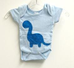 Dinosaur Onesie Baby boy Blue Dinosaur by Squawberry on Etsy, $8.50