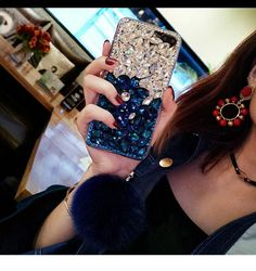 Diamond Gradient Color Plush Ball Phone Case – Phone case for girls Ball Decorations, Beautiful Cover, Gradient Color, Color Show, Iphone Cases, Iphone 8, Plush, Bling, Diamond