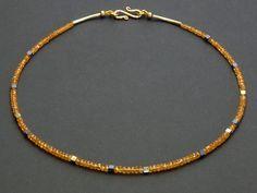 Granat - Kette, Mandarinengranat - ein Designerstück von steinRausch bei DaWanda