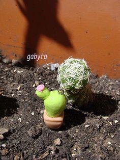 cactus, porcelana fria modelado a mano